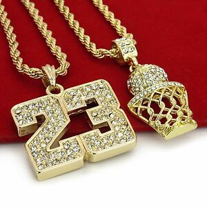 14K-Gold-Plated-Hip-Hop-Basketball-amp-23-Pendant-w-4mm-24-034-Rope-Chain