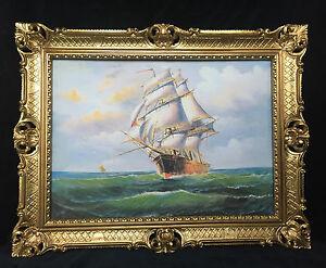 Gemaelde-Segelschiff-Meer-Schiffsbilder-Seestueck-Maritime-Bilder-Schiffe-90x70
