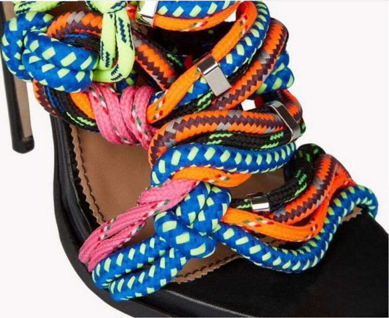 Womens colorful Mixed color Weave Rope Peep Toe High Heel Heel Heel Stilettos Cross Straps 10bf37