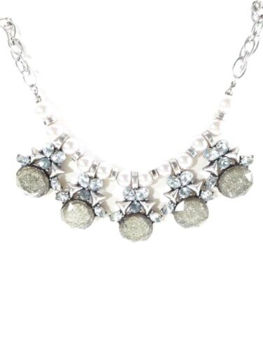 Lee by Lee Angel NEIMAN MARCUS Pearl Pyrite Bib Statement Necklace NWT 98