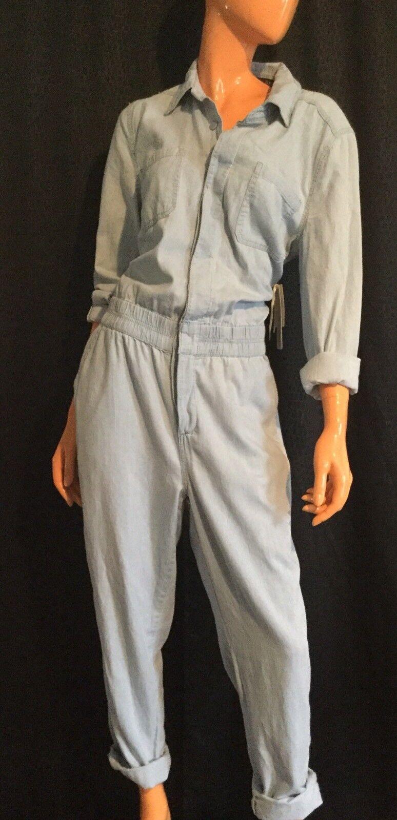 Women One 1 Piece Full Length Jumper bluee Denim Jumpsuit Pantsuit Romper M Large