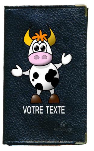 Etui carte grise noir en cuir papiers de voiture permis vache  à personnalise
