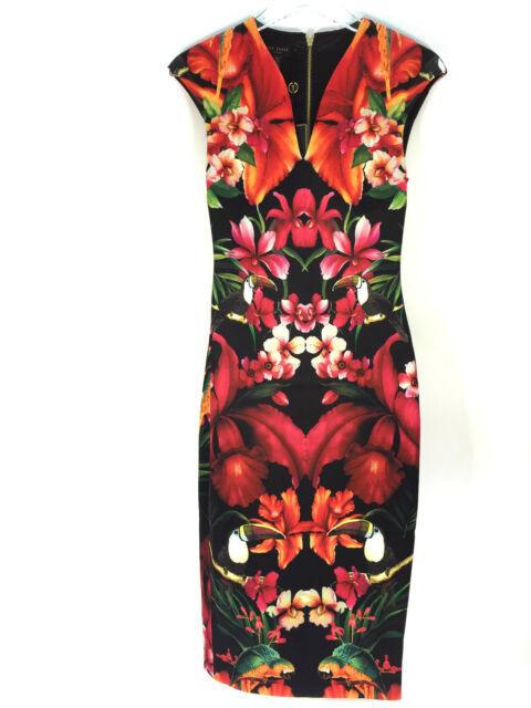 85797cd1c510 Ladies Ted Baker Bismii Tropical Toucan Cap Sleeve Dress Size 0 UK 6 ...