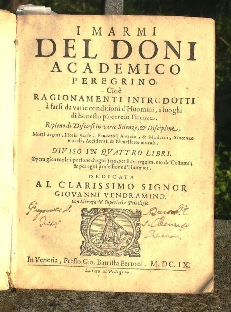 1609 I MARMI DEL DONI FIRENZE MAGIA, MORALE ECC 69 XILOGRAFIE