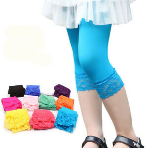 ecb15f7969766 Details about Baby Girl Toddler Children Candy Color Lace Leggings Ruffles  Boutique Lace Capri