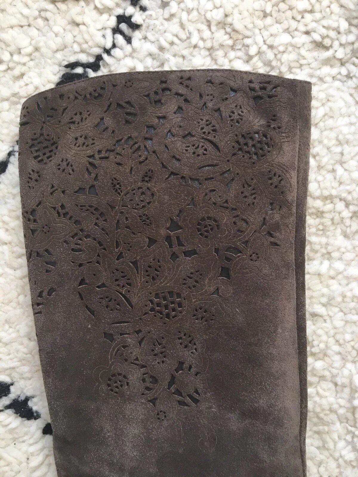 magnifique daim marron foncé gris gris gris avec des bottes de cow  boy carton détails uk5 prr | Shop  f86fd2