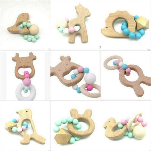 1pcs Wooden Teether Cartoon animal shape Safety Beaded Baby Molar Stick Toy