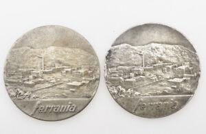 Ferrania-coppia-2-medaglie-argento-massiccio-1960-62-marito-e-moglie