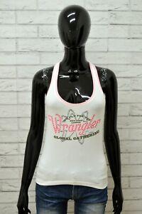 Maglia-WRANGER-Donna-Taglia-L-Maglietta-Canotta-Shirt-Woman-Cotone-Slim-Bianco