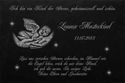 Sternenkind Grabtafel Grabplatte Grabstein-027 ► LASER-Wunschgravur ◄ 40 x 25 cm