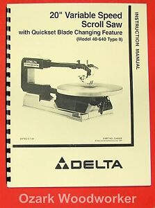 Image Is Loading DELTA 40 640 20 034 Scroll Saw Instruction