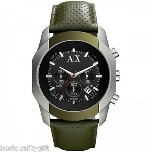 a21f374d0c6 Image is loading ARMANI-EXCHANGE-OLIVE-GREEN-PERFORATED-LEATHER -SILVER-BLACK-