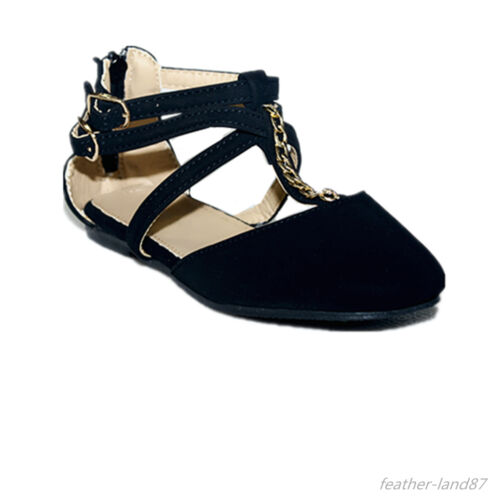 New Girls Flats Casual Ballet Ankle Strap Back Zipper Black,Taupe Dress Shoes