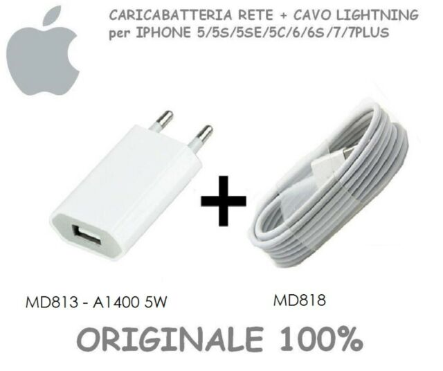 ALIMENTATORE ORIGINALE+Cavo Apple Lightning ORIGINALE 1MT per iPhone 6 6S 7 8 X