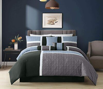 Blue Charcoal Gray 7-Piece Medallion Quilted Patchwork Comforter Set