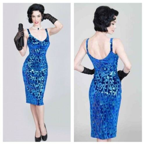 Tatyana Betty Page Blue Velvet & Sequin Sexy Wiggl