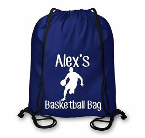 Personalised Cotton Named Basketball Drawstring Bag, Basketball Kit Bag CSB108