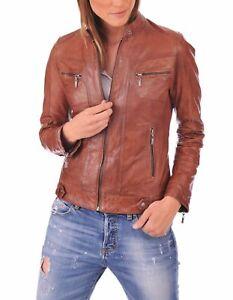 Femmes Fit Moto New manteau Jacket Zipper Slim Vintage en cuir souple Biker 4SA4gw