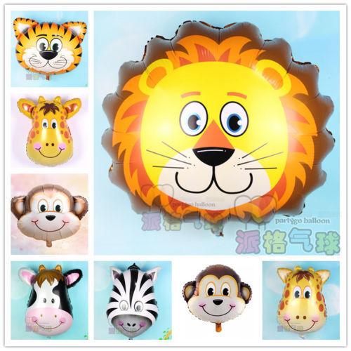 5pcs Animal Head Helium Foil Ballons anniversaire thème fête AIR LIBRE PUMPER