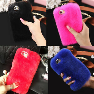 Luxury-Diamond-Warm-Fur-Furry-Protective-Back-Case-Cover-For-iPhone-5-6s-6s-Plus
