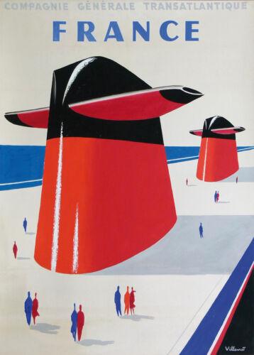 Vintage Art print Bernard Villemot FRANCE TRAVEL 700mm painting poster