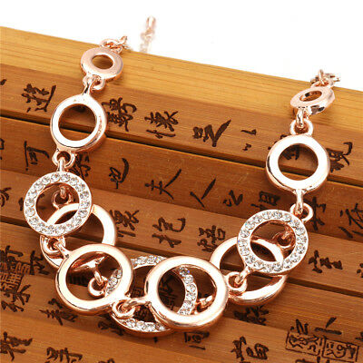 Fashion Rose Gold Plated Lady Jewelry Bracelets Crystal Rhinestone Chain Bangle
