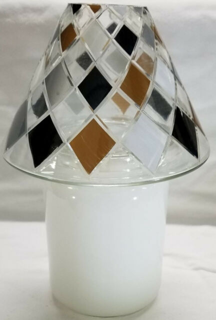 Yankee Candle Jar Shade Topper BLACK TAN DIAMONDS Medium Large Jar Silver White