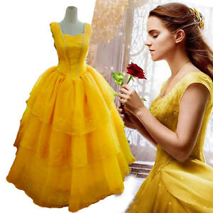 2019 Beauty And The Beast Ball Gown Dress Princess Belle Costume For