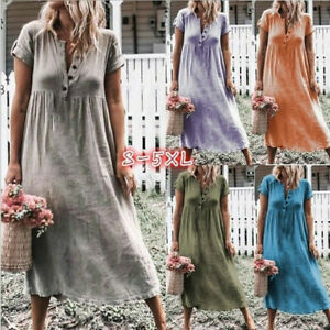 842dea4104fc6 Summer Solid Plus Size Women Buttons V Neck Sleeveless Loose Long ...
