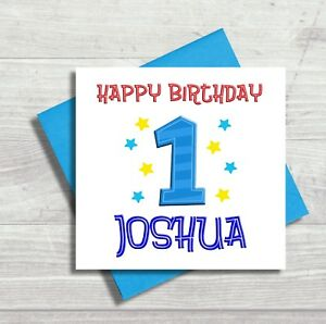 Image Is Loading Personalised First 1st Birthday Card Boy Son Grandson