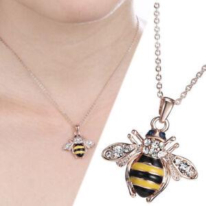 Honey Bee Pendant Rose Gold Fashion Crystal Rhinestone