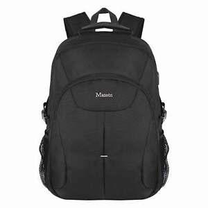 "Matein Men's Black 17"" Travel Laptop Backpack USB Anti-Theft TSA-Friendly 45L"