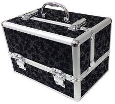 Black Large Floral Flower Beauty Cosmetic Box Make Up Vanity Storage Saloon Case