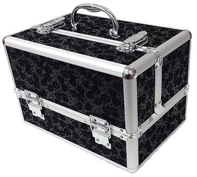 Black Large Floral Flower Beauty Cosmetic Box Make Up Vanity Storage Salon Case