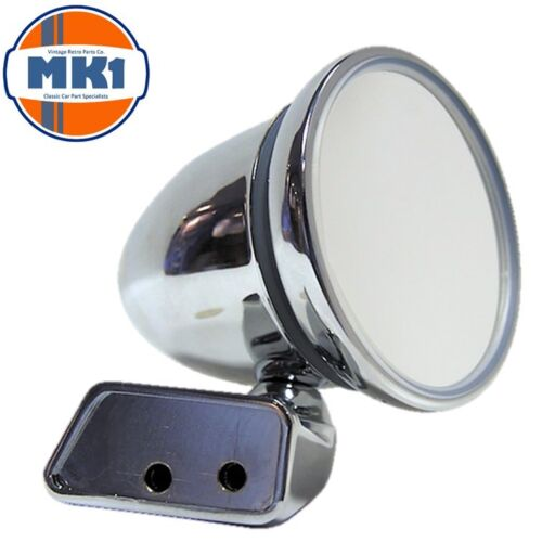 Classic Austin Mini Retro Bullet Domed Custom Fit Chrome Door Mirror Right Hand