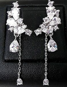 RHODIUM-Sterling-Silver-Sparkling-BIG-Dangling-CZ-Long-Earrings-5G-Front-Back