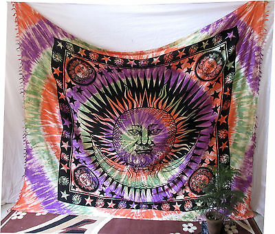 Queen Hippie Indian Sun moon Psychedelic Tapestry Wall Hanging Bedspread Throw A