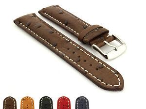 Padded Genuine Ostrich Leather Skin Watch Strap Band 18 20 22 24 Emu MM