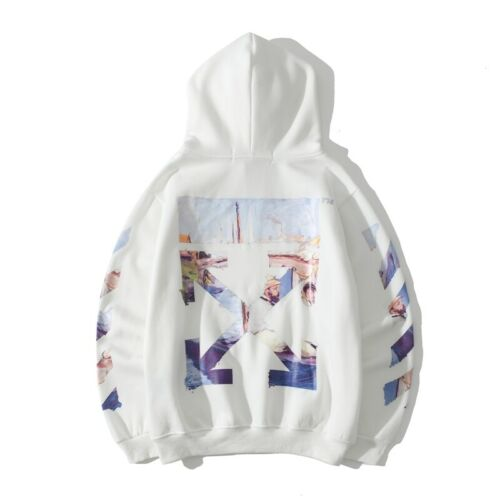 Herren Damen OFF White Mantel Hoodie Warm Kapuzenjacke Winterpullover Sweatshirt
