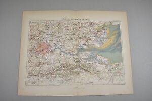 Gravure Ancienne Xixe - Londres Et L'estuaire De La Tamise