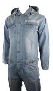 Mens-Jeans-Jump-Boiler-Suit-Denim-Removable-Hooded-Stonewash-One-Piece