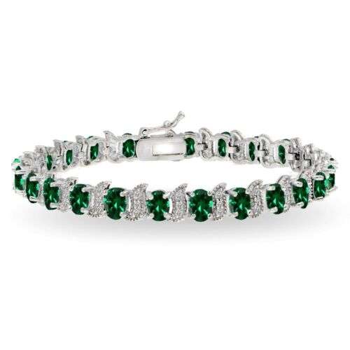 Sterling Silver Simulated EMERALD /& WHITE TOPAZ 6x4mm Ovale et S Tennis Bracelet