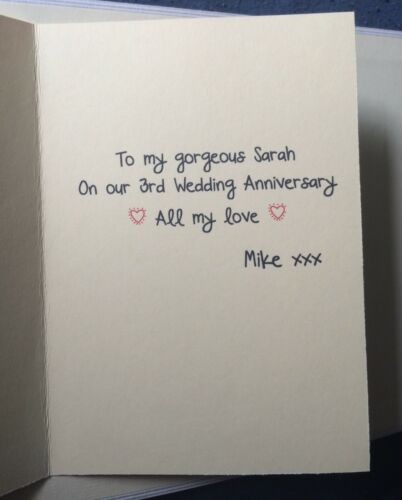 Personalised wedding anniversary card//third 3rd leather//3D card//unique//masculine