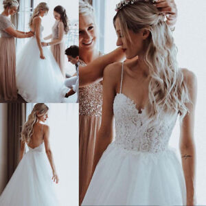 Lace Pearls Spaghetti Straps Beach Wedding Dresses Backless Boho Bridal Gowns Ebay,Simple Wedding Dresses For Courthouse Wedding