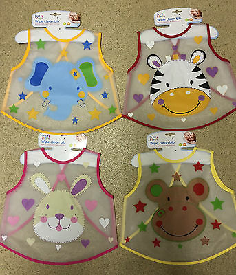 Baby Feeding Weaning Bib Easy Wipe Clean Toddler Mealtime PCV Travel Play Apron