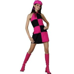 Woman's Années 1960 Groovy Party Girl Sixties Retro Fancy Dress Costume Outfit-afficher Le Titre D'origine