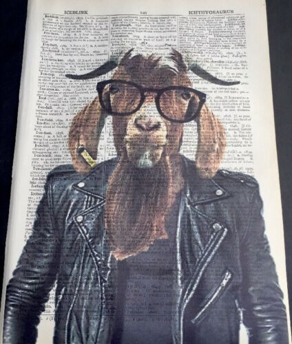 Hipster Goat Print Vintage Dictionary Page Wall Art Picture Animal In Glasses