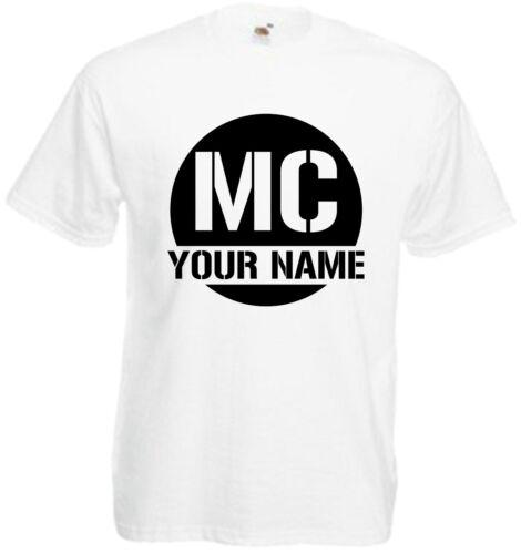 MC Custom Personalised T Shirt Club Mobile Disco Music Rave Name Tee Unisex radi
