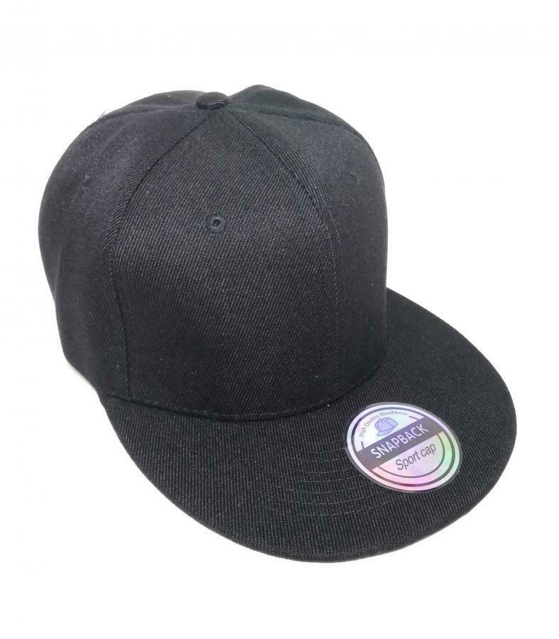 Gorra plana Snapback High Quality Headwear negra black Flat Cap REF03