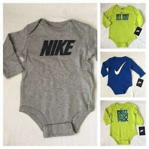 Nike-Long-Sleeved-Bodysuit-Size-0-3-3-6-6-9-9-12-months-Baby-Boys-Gift